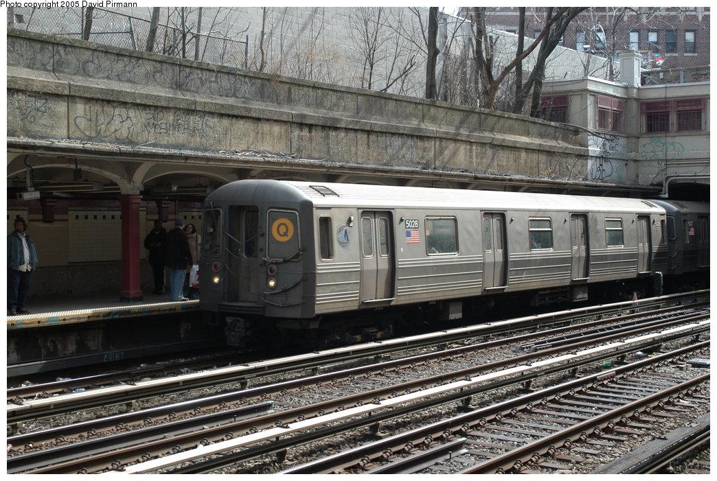 (268k, 1044x701)<br><b>Country:</b> United States<br><b>City:</b> New York<br><b>System:</b> New York City Transit<br><b>Line:</b> BMT Brighton Line<br><b>Location:</b> Parkside Avenue <br><b>Route:</b> Q<br><b>Car:</b> R-68A (Kawasaki, 1988-1989)  5028 <br><b>Photo by:</b> David Pirmann<br><b>Date:</b> 2/29/2004<br><b>Viewed (this week/total):</b> 3 / 3519