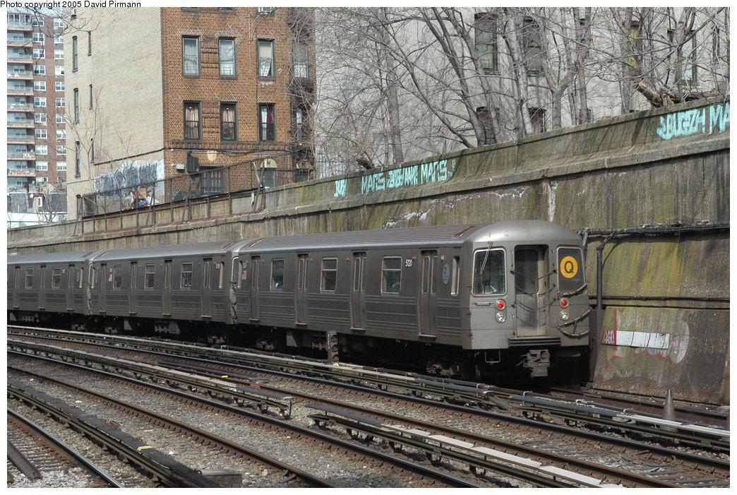 (274k, 1044x701)<br><b>Country:</b> United States<br><b>City:</b> New York<br><b>System:</b> New York City Transit<br><b>Line:</b> BMT Brighton Line<br><b>Location:</b> Parkside Avenue <br><b>Route:</b> Q<br><b>Car:</b> R-68A (Kawasaki, 1988-1989)  5120 <br><b>Photo by:</b> David Pirmann<br><b>Date:</b> 2/29/2004<br><b>Viewed (this week/total):</b> 2 / 3855