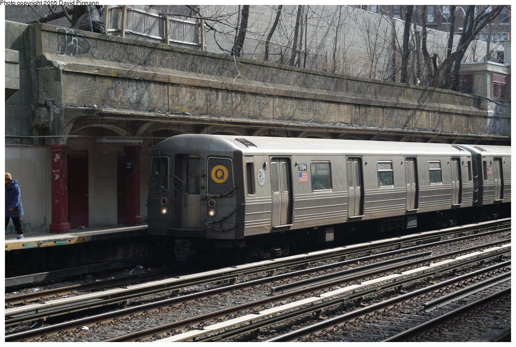 (248k, 1044x701)<br><b>Country:</b> United States<br><b>City:</b> New York<br><b>System:</b> New York City Transit<br><b>Line:</b> BMT Brighton Line<br><b>Location:</b> Parkside Avenue <br><b>Route:</b> Q<br><b>Car:</b> R-68A (Kawasaki, 1988-1989)  5194 <br><b>Photo by:</b> David Pirmann<br><b>Date:</b> 2/29/2004<br><b>Viewed (this week/total):</b> 3 / 3808