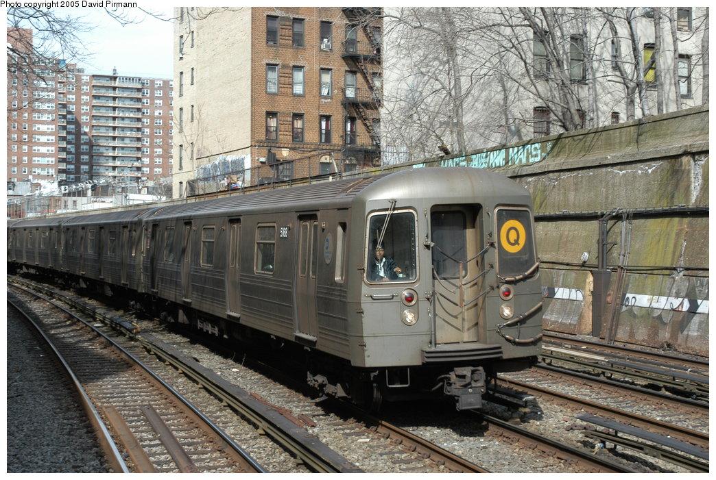 (260k, 1044x701)<br><b>Country:</b> United States<br><b>City:</b> New York<br><b>System:</b> New York City Transit<br><b>Line:</b> BMT Brighton Line<br><b>Location:</b> Parkside Avenue <br><b>Route:</b> Q<br><b>Car:</b> R-68A (Kawasaki, 1988-1989)  5168 <br><b>Photo by:</b> David Pirmann<br><b>Date:</b> 2/29/2004<br><b>Viewed (this week/total):</b> 1 / 3702