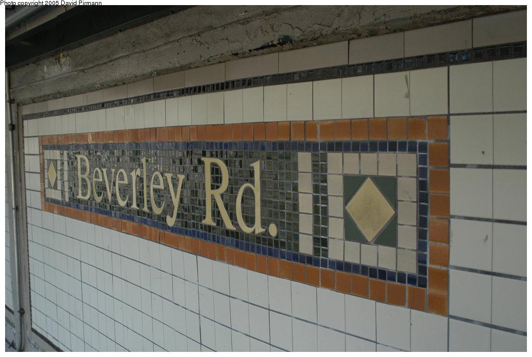 (164k, 1044x701)<br><b>Country:</b> United States<br><b>City:</b> New York<br><b>System:</b> New York City Transit<br><b>Line:</b> BMT Brighton Line<br><b>Location:</b> Beverley Road <br><b>Photo by:</b> David Pirmann<br><b>Date:</b> 2/29/2004<br><b>Notes:</b> Beverley Rd. name mosaic<br><b>Viewed (this week/total):</b> 0 / 3740