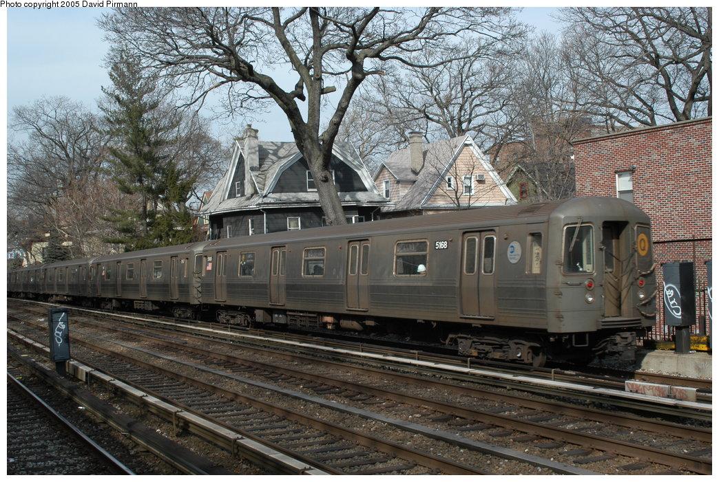 (277k, 1044x701)<br><b>Country:</b> United States<br><b>City:</b> New York<br><b>System:</b> New York City Transit<br><b>Line:</b> BMT Brighton Line<br><b>Location:</b> Avenue H <br><b>Route:</b> Q<br><b>Car:</b> R-68A (Kawasaki, 1988-1989)  5168 <br><b>Photo by:</b> David Pirmann<br><b>Date:</b> 2/29/2004<br><b>Viewed (this week/total):</b> 0 / 3817