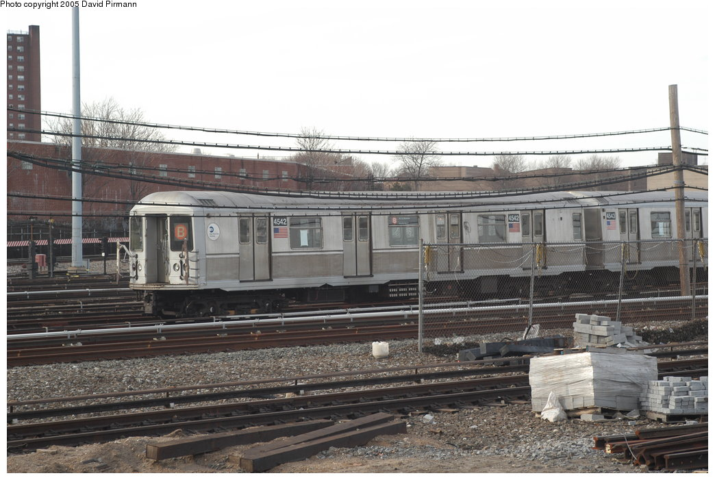 (205k, 1044x701)<br><b>Country:</b> United States<br><b>City:</b> New York<br><b>System:</b> New York City Transit<br><b>Location:</b> Coney Island Yard<br><b>Car:</b> R-40M (St. Louis, 1969)  4542 <br><b>Photo by:</b> David Pirmann<br><b>Date:</b> 2/29/2004<br><b>Viewed (this week/total):</b> 1 / 3757