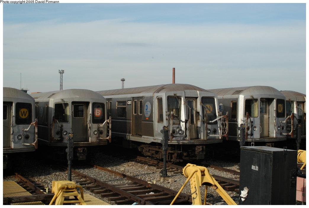 (166k, 1044x701)<br><b>Country:</b> United States<br><b>City:</b> New York<br><b>System:</b> New York City Transit<br><b>Location:</b> Coney Island Yard<br><b>Car:</b> R-40 (St. Louis, 1968)  4361 <br><b>Photo by:</b> David Pirmann<br><b>Date:</b> 2/29/2004<br><b>Viewed (this week/total):</b> 0 / 4126