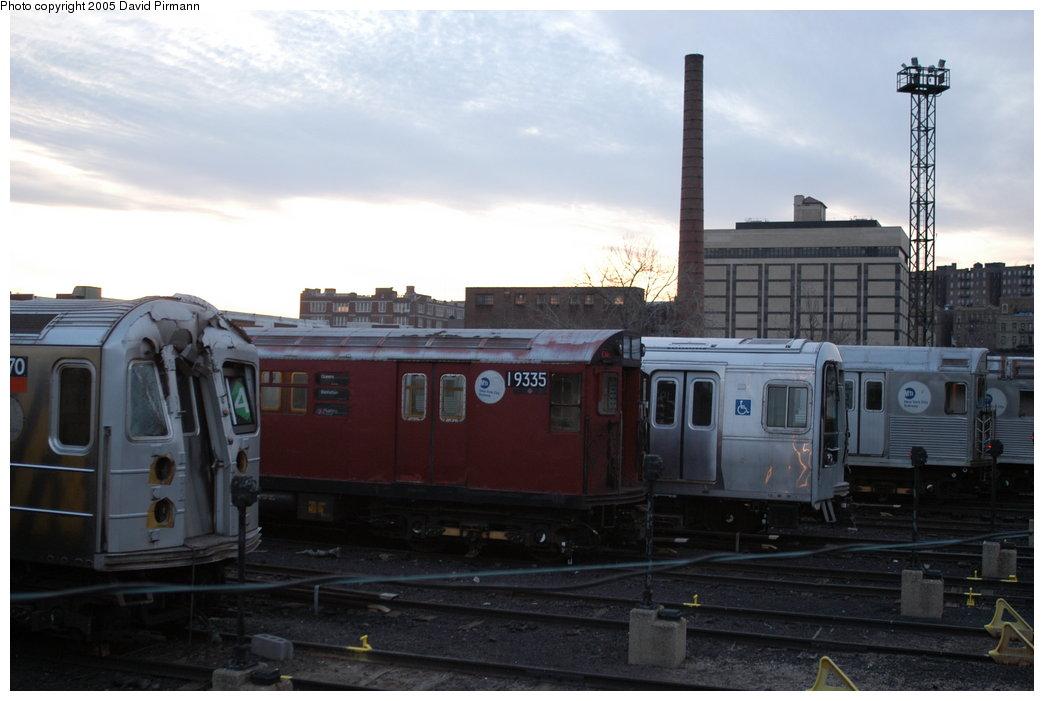 (157k, 1044x701)<br><b>Country:</b> United States<br><b>City:</b> New York<br><b>System:</b> New York City Transit<br><b>Location:</b> 207th Street Yard<br><b>Car:</b> R-33 World's Fair (St. Louis, 1963-64) 9335 <br><b>Photo by:</b> David Pirmann<br><b>Date:</b> 2/29/2004<br><b>Notes:</b> With R62 1370<br><b>Viewed (this week/total):</b> 0 / 4105