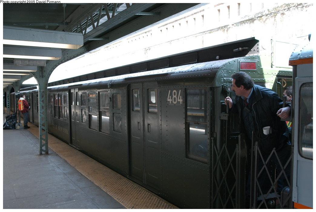 (181k, 1044x701)<br><b>Country:</b> United States<br><b>City:</b> New York<br><b>System:</b> New York City Transit<br><b>Line:</b> BMT Franklin<br><b>Location:</b> Prospect Park <br><b>Route:</b> Franklin Shuttle<br><b>Car:</b> R-4 (American Car & Foundry, 1932-1933) 484 <br><b>Photo by:</b> David Pirmann<br><b>Date:</b> 2/29/2004<br><b>Notes:</b> Train departing <u>in service</u> on the Franklin Shuttle (made three round trips in service)<br><b>Viewed (this week/total):</b> 4 / 4050