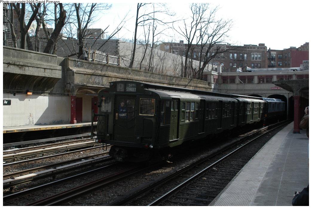 (223k, 1044x701)<br><b>Country:</b> United States<br><b>City:</b> New York<br><b>System:</b> New York City Transit<br><b>Line:</b> BMT Brighton Line<br><b>Location:</b> Parkside Avenue <br><b>Route:</b> Fan Trip<br><b>Car:</b> R-4 (American Car & Foundry, 1932-1933) 401 <br><b>Photo by:</b> David Pirmann<br><b>Date:</b> 2/29/2004<br><b>Viewed (this week/total):</b> 4 / 4504
