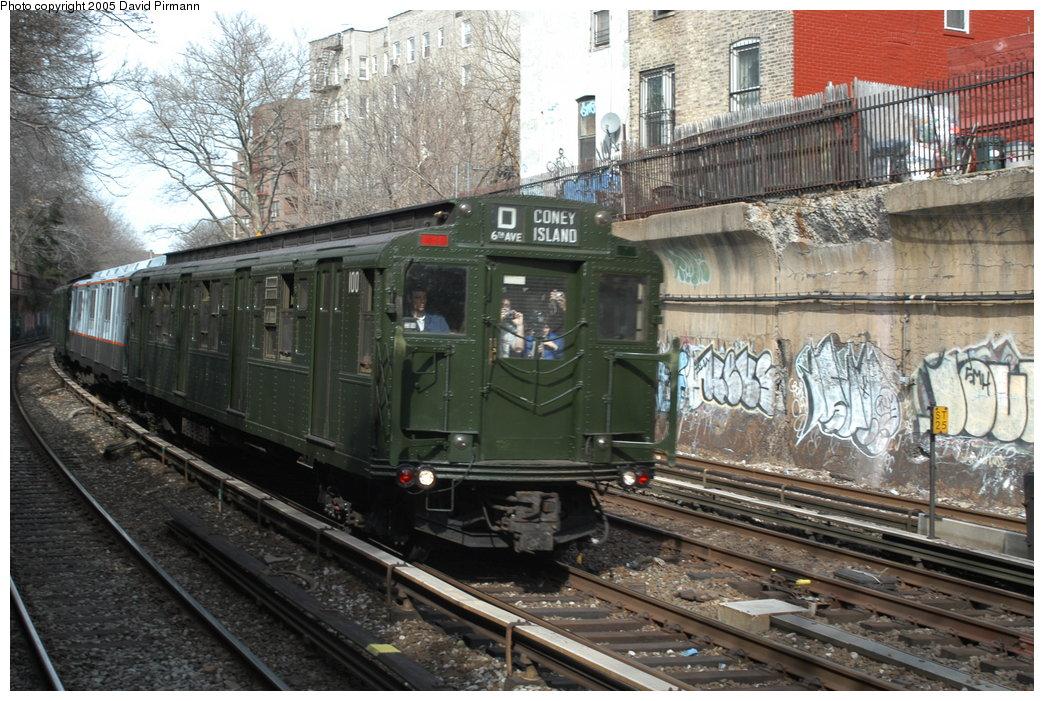 (241k, 1044x701)<br><b>Country:</b> United States<br><b>City:</b> New York<br><b>System:</b> New York City Transit<br><b>Line:</b> BMT Brighton Line<br><b>Location:</b> Beverley Road <br><b>Route:</b> Fan Trip<br><b>Car:</b> R-1 (American Car & Foundry, 1930-1931) 100 <br><b>Photo by:</b> David Pirmann<br><b>Date:</b> 2/29/2004<br><b>Viewed (this week/total):</b> 1 / 3774