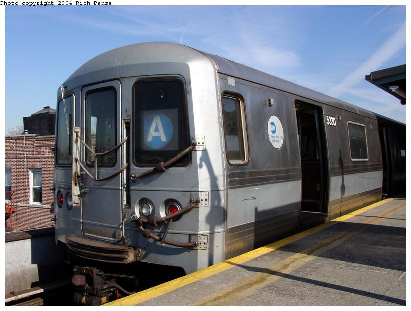 (81k, 820x620)<br><b>Country:</b> United States<br><b>City:</b> New York<br><b>System:</b> New York City Transit<br><b>Line:</b> IND Fulton Street Line<br><b>Location:</b> Lefferts Boulevard <br><b>Route:</b> A<br><b>Car:</b> R-44 (St. Louis, 1971-73) 5330 <br><b>Photo by:</b> Richard Panse<br><b>Date:</b> 2/10/2004<br><b>Viewed (this week/total):</b> 0 / 8496
