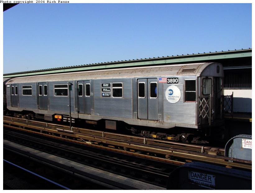 (79k, 820x620)<br><b>Country:</b> United States<br><b>City:</b> New York<br><b>System:</b> New York City Transit<br><b>Line:</b> IND Fulton Street Line<br><b>Location:</b> Rockaway Boulevard <br><b>Route:</b> A<br><b>Car:</b> R-32 (Budd, 1964)  3890 <br><b>Photo by:</b> Richard Panse<br><b>Date:</b> 2/10/2004<br><b>Viewed (this week/total):</b> 2 / 8026
