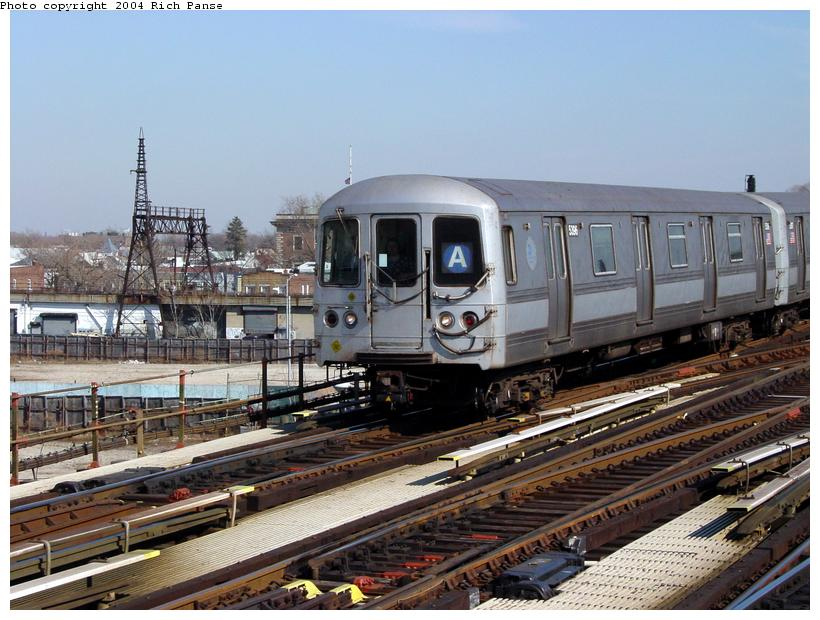 (101k, 820x620)<br><b>Country:</b> United States<br><b>City:</b> New York<br><b>System:</b> New York City Transit<br><b>Line:</b> IND Fulton Street Line<br><b>Location:</b> Rockaway Boulevard <br><b>Route:</b> A<br><b>Car:</b> R-44 (St. Louis, 1971-73) 5396 <br><b>Photo by:</b> Richard Panse<br><b>Date:</b> 2/10/2004<br><b>Viewed (this week/total):</b> 1 / 3368