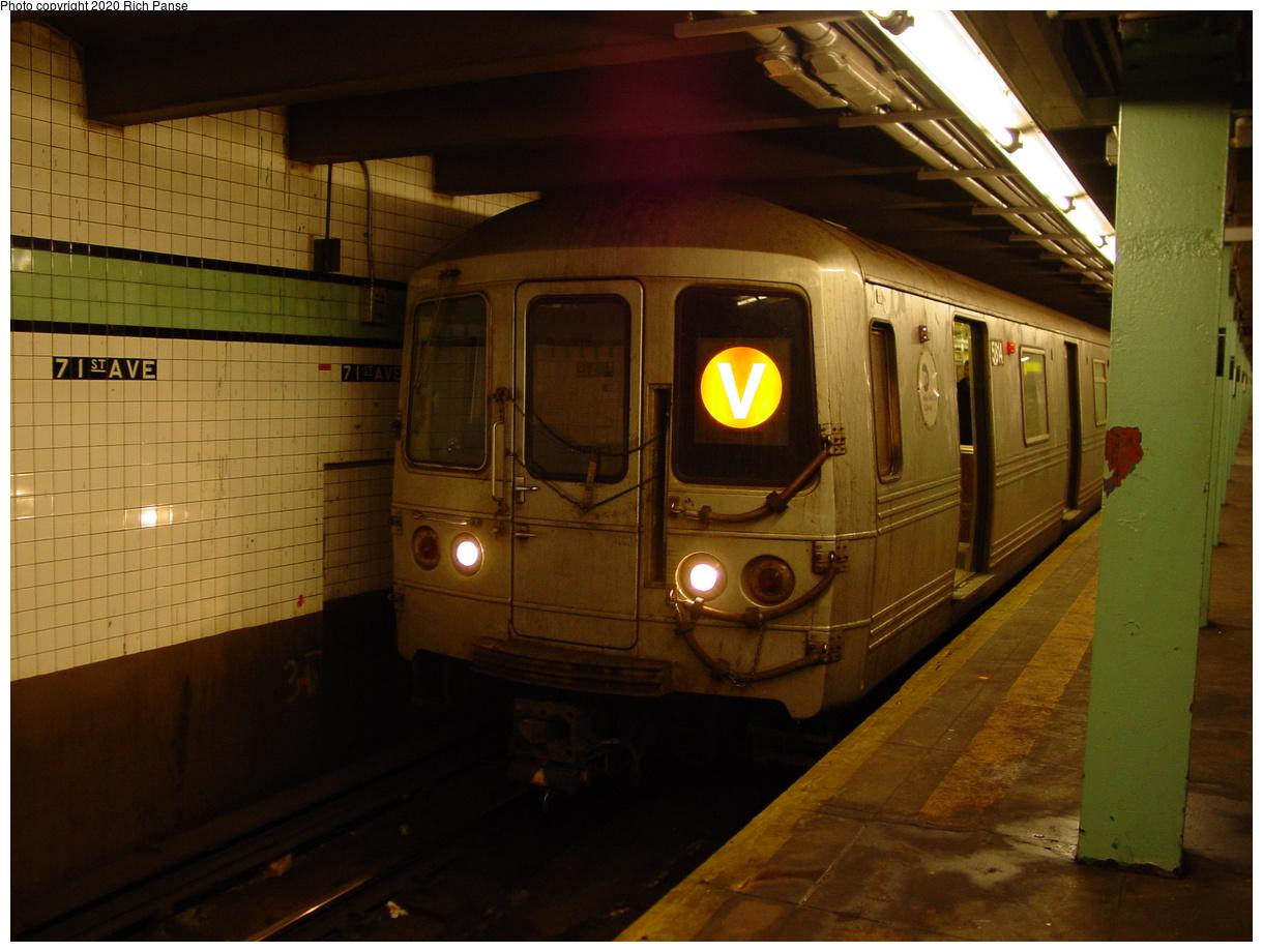 (75k, 820x620)<br><b>Country:</b> United States<br><b>City:</b> New York<br><b>System:</b> New York City Transit<br><b>Line:</b> IND Queens Boulevard Line<br><b>Location:</b> 71st/Continental Aves./Forest Hills <br><b>Route:</b> V<br><b>Car:</b> R-46 (Pullman-Standard, 1974-75) 5814 <br><b>Photo by:</b> Richard Panse<br><b>Date:</b> 2/4/2004<br><b>Viewed (this week/total):</b> 1 / 5267