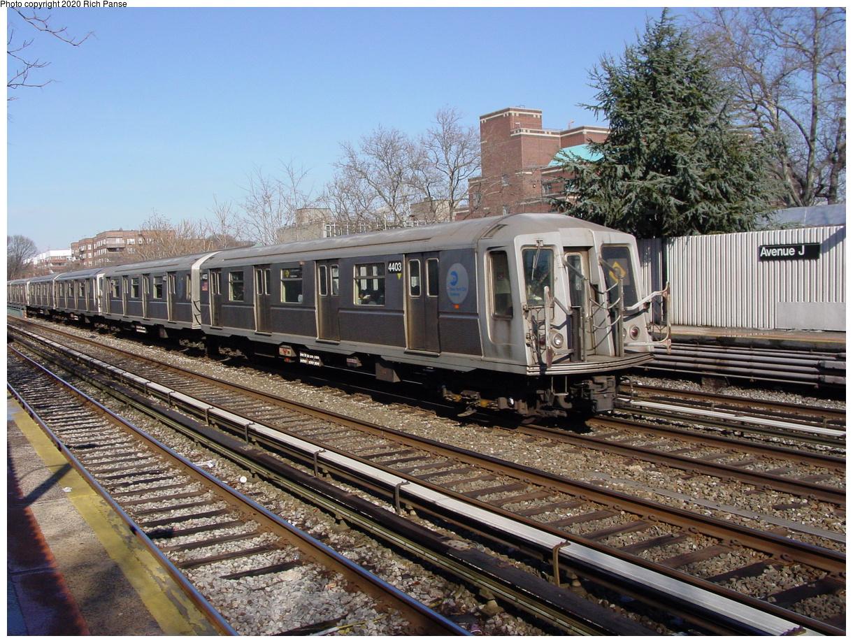 (118k, 820x620)<br><b>Country:</b> United States<br><b>City:</b> New York<br><b>System:</b> New York City Transit<br><b>Line:</b> BMT Brighton Line<br><b>Location:</b> Avenue J <br><b>Route:</b> Q<br><b>Car:</b> R-40 (St. Louis, 1968)  4403 <br><b>Photo by:</b> Richard Panse<br><b>Date:</b> 2/4/2004<br><b>Viewed (this week/total):</b> 0 / 3888