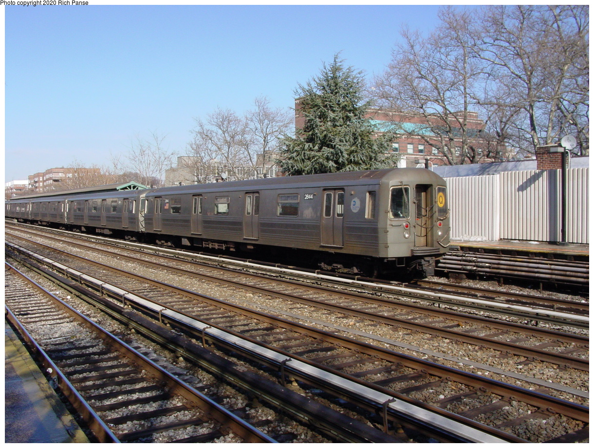 (113k, 820x620)<br><b>Country:</b> United States<br><b>City:</b> New York<br><b>System:</b> New York City Transit<br><b>Line:</b> BMT Brighton Line<br><b>Location:</b> Avenue J <br><b>Route:</b> Q<br><b>Car:</b> R-68 (Westinghouse-Amrail, 1986-1988)  2844 <br><b>Photo by:</b> Richard Panse<br><b>Date:</b> 2/4/2004<br><b>Viewed (this week/total):</b> 0 / 3441