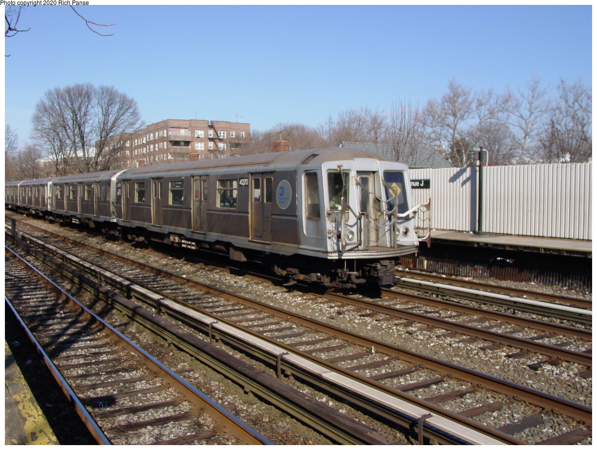 (101k, 820x620)<br><b>Country:</b> United States<br><b>City:</b> New York<br><b>System:</b> New York City Transit<br><b>Line:</b> BMT Brighton Line<br><b>Location:</b> Avenue J <br><b>Route:</b> Q<br><b>Car:</b> R-40 (St. Louis, 1968)  4270 <br><b>Photo by:</b> Richard Panse<br><b>Date:</b> 2/4/2004<br><b>Viewed (this week/total):</b> 0 / 3077