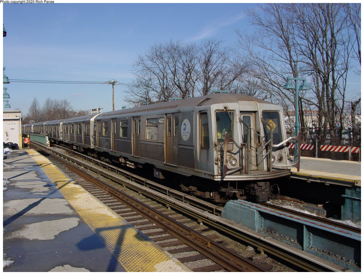 (103k, 820x620)<br><b>Country:</b> United States<br><b>City:</b> New York<br><b>System:</b> New York City Transit<br><b>Line:</b> BMT Brighton Line<br><b>Location:</b> Sheepshead Bay <br><b>Route:</b> Q<br><b>Car:</b> R-40 (St. Louis, 1968)  4331 <br><b>Photo by:</b> Richard Panse<br><b>Date:</b> 2/4/2004<br><b>Viewed (this week/total):</b> 0 / 2925