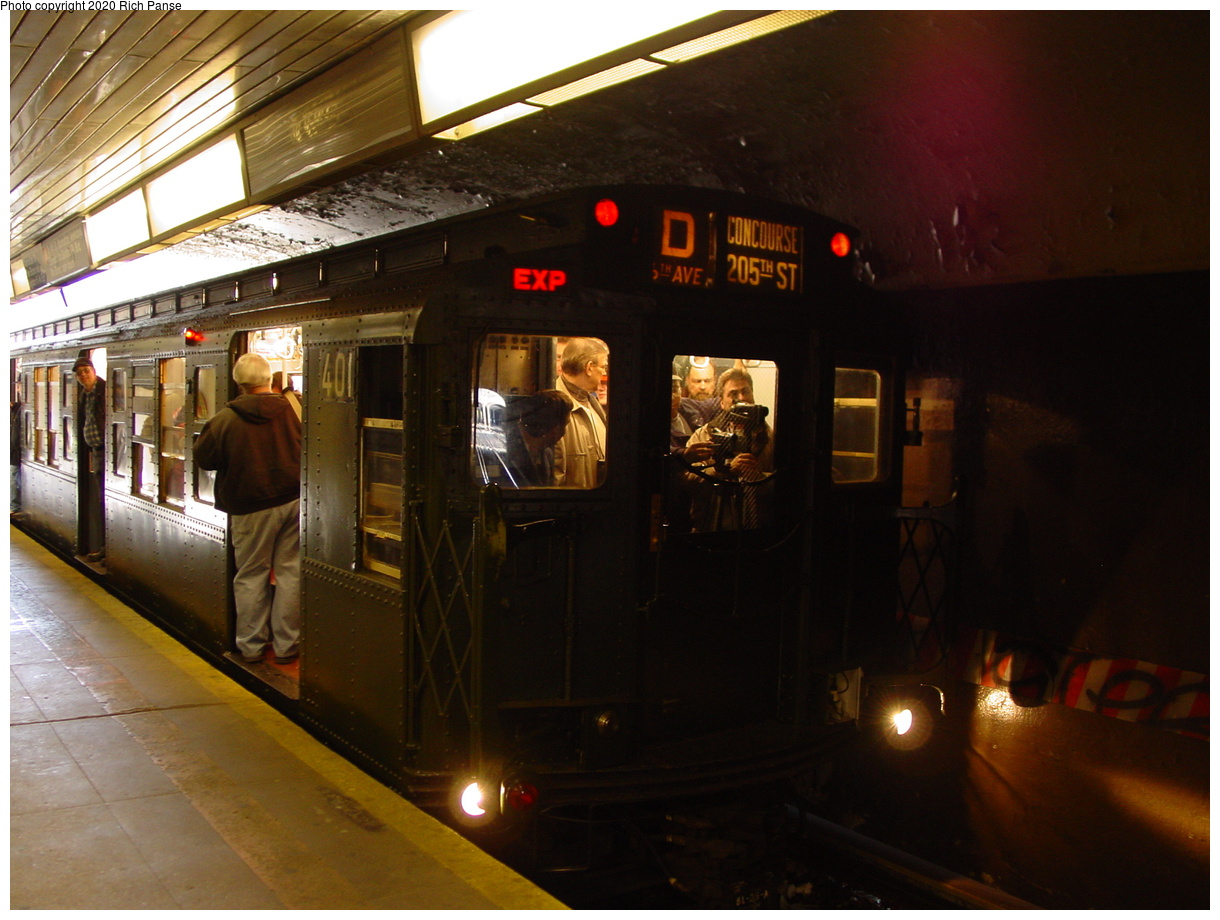 (81k, 820x620)<br><b>Country:</b> United States<br><b>City:</b> New York<br><b>System:</b> New York City Transit<br><b>Line:</b> BMT Brighton Line<br><b>Location:</b> Church Avenue <br><b>Route:</b> Fan Trip<br><b>Car:</b> R-4 (American Car & Foundry, 1932-1933) 401 <br><b>Photo by:</b> Richard Panse<br><b>Date:</b> 2/28/2004<br><b>Viewed (this week/total):</b> 1 / 4515