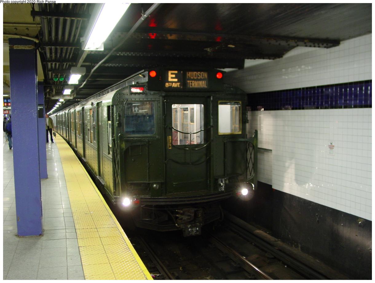 (76k, 820x620)<br><b>Country:</b> United States<br><b>City:</b> New York<br><b>System:</b> New York City Transit<br><b>Line:</b> IND 8th Avenue Line<br><b>Location:</b> Chambers Street/World Trade Center <br><b>Route:</b> Fan Trip<br><b>Car:</b> R-1 (American Car & Foundry, 1930-1931) 100 <br><b>Photo by:</b> Richard Panse<br><b>Date:</b> 2/28/2004<br><b>Viewed (this week/total):</b> 0 / 4268