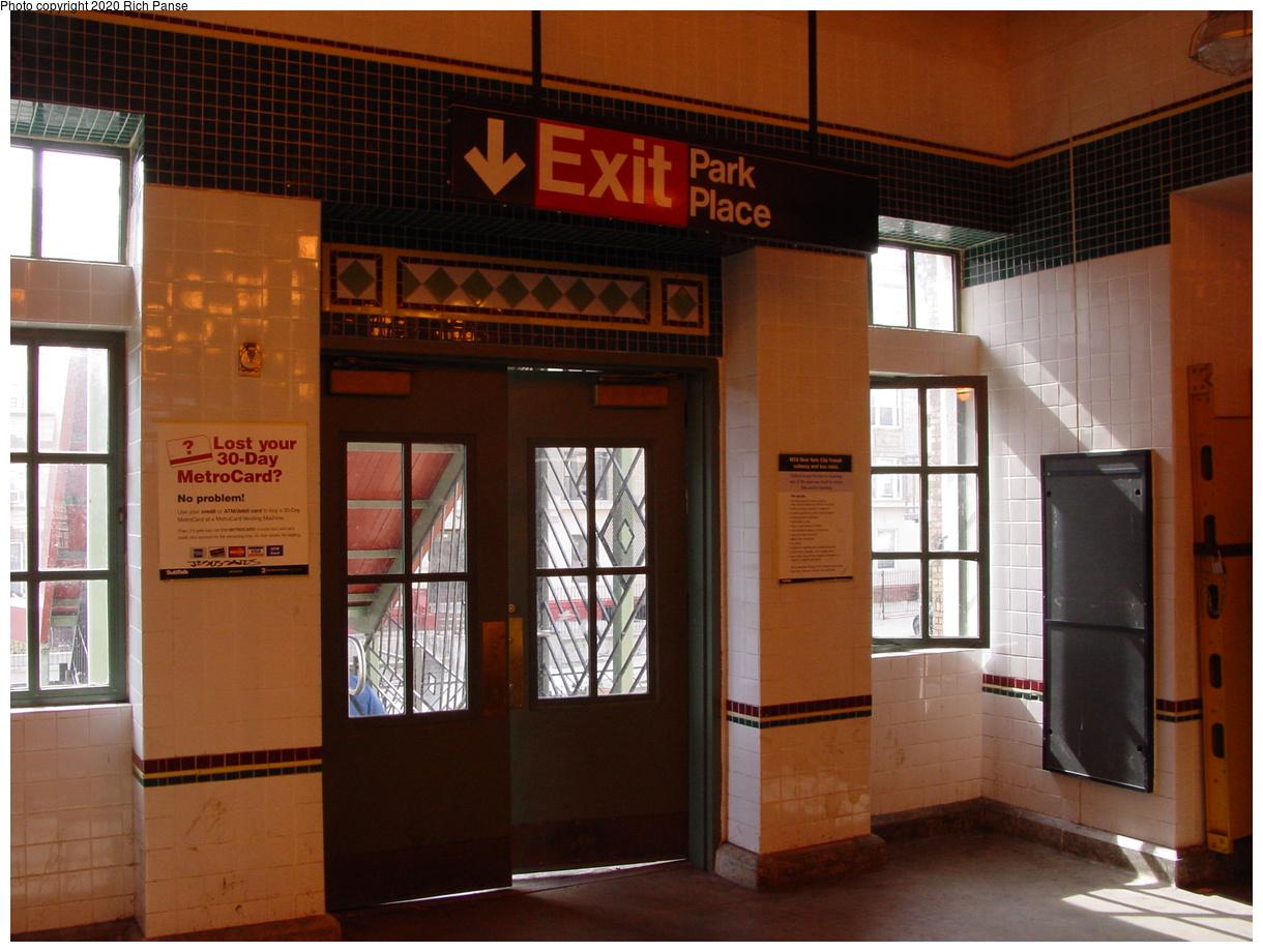 (74k, 820x620)<br><b>Country:</b> United States<br><b>City:</b> New York<br><b>System:</b> New York City Transit<br><b>Line:</b> BMT Franklin<br><b>Location:</b> Park Place <br><b>Photo by:</b> Richard Panse<br><b>Date:</b> 2/29/2004<br><b>Notes:</b> Exit to street<br><b>Viewed (this week/total):</b> 0 / 3732