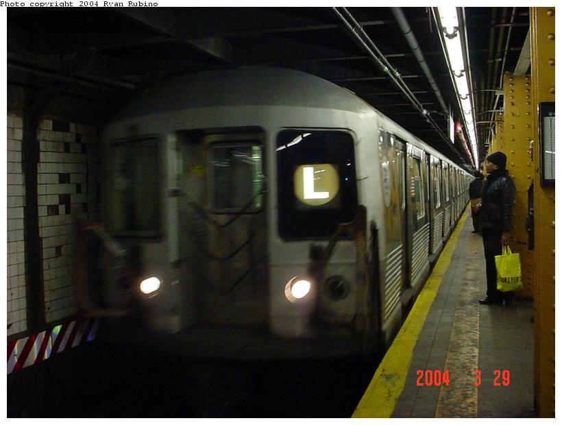 (67k, 820x620)<br><b>Country:</b> United States<br><b>City:</b> New York<br><b>System:</b> New York City Transit<br><b>Line:</b> BMT Canarsie Line<br><b>Location:</b> 6th Avenue <br><b>Route:</b> L<br><b>Car:</b> R-42 (St. Louis, 1969-1970)   <br><b>Photo by:</b> Ryan Rubino<br><b>Date:</b> 3/29/2004<br><b>Viewed (this week/total):</b> 9 / 4922