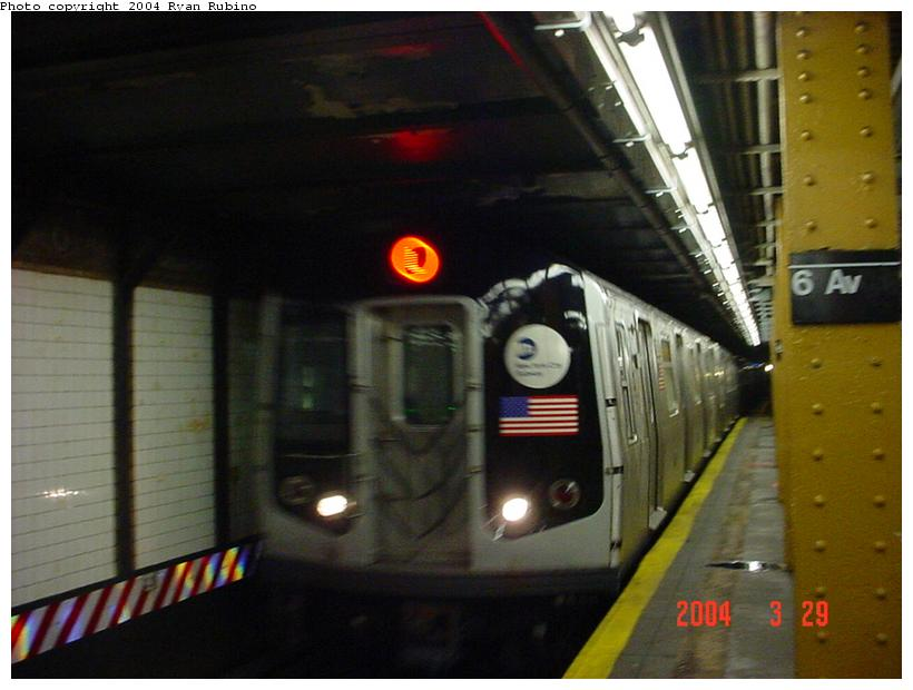 (64k, 820x620)<br><b>Country:</b> United States<br><b>City:</b> New York<br><b>System:</b> New York City Transit<br><b>Line:</b> BMT Canarsie Line<br><b>Location:</b> 6th Avenue <br><b>Route:</b> L<br><b>Car:</b> R-143 (Kawasaki, 2001-2002)  <br><b>Photo by:</b> Ryan Rubino<br><b>Date:</b> 3/29/2004<br><b>Viewed (this week/total):</b> 0 / 4840