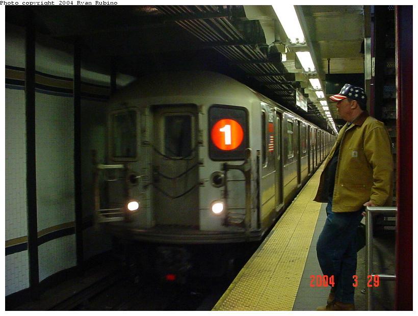 (71k, 820x620)<br><b>Country:</b> United States<br><b>City:</b> New York<br><b>System:</b> New York City Transit<br><b>Line:</b> IRT West Side Line<br><b>Location:</b> 72nd Street <br><b>Route:</b> 1<br><b>Car:</b> R-62A (Bombardier, 1984-1987)  2405 <br><b>Photo by:</b> Ryan Rubino<br><b>Date:</b> 3/29/2004<br><b>Viewed (this week/total):</b> 0 / 5576