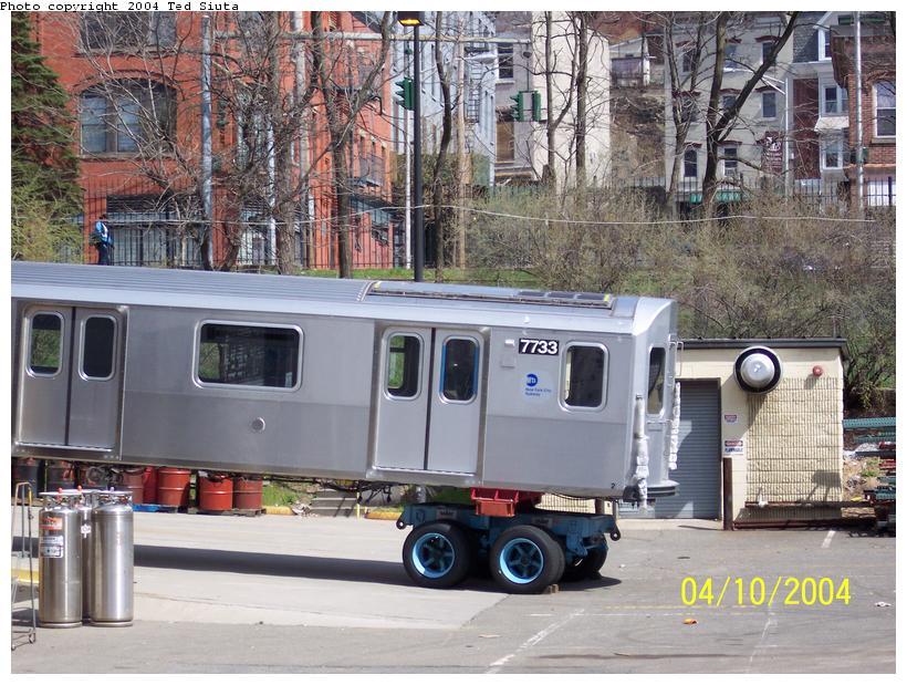 (120k, 820x619)<br><b>Country:</b> United States<br><b>City:</b> New York<br><b>System:</b> New York City Transit<br><b>Location:</b> Kawasaki Plant, Yonkers, NY<br><b>Car:</b> R-142A (Supplemental Order, Kawasaki, 2003-2004)  7733 <br><b>Photo by:</b> Ted Siuta<br><b>Date:</b> 4/10/2004<br><b>Viewed (this week/total):</b> 0 / 6660