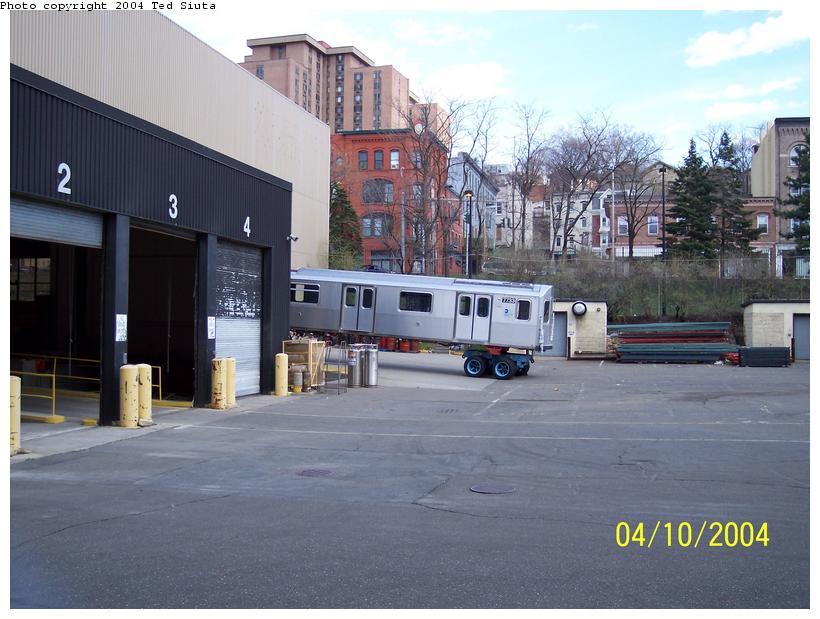 (86k, 820x619)<br><b>Country:</b> United States<br><b>City:</b> New York<br><b>System:</b> New York City Transit<br><b>Location:</b> Kawasaki Plant, Yonkers, NY<br><b>Car:</b> R-142A (Supplemental Order, Kawasaki, 2003-2004)  7733 <br><b>Photo by:</b> Ted Siuta<br><b>Date:</b> 4/10/2004<br><b>Viewed (this week/total):</b> 0 / 5176