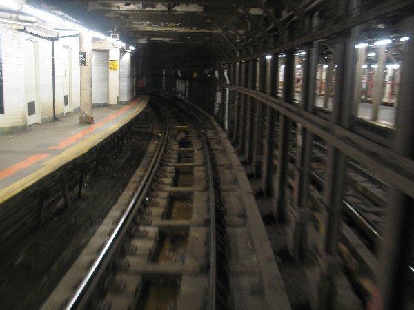 (48k, 600x450)<br><b>Country:</b> United States<br><b>City:</b> New York<br><b>System:</b> New York City Transit<br><b>Line:</b> IRT Times Square-Grand Central Shuttle<br><b>Location:</b> Times Square <br><b>Photo by:</b> The NX<br><b>Date:</b> 3/1/2010<br><b>Notes:</b> Shuttle rolling stock transfer - Passing by Track 4 platform on left side and Track 3 platform on right side.<br><b>Viewed (this week/total):</b> 2 / 1453