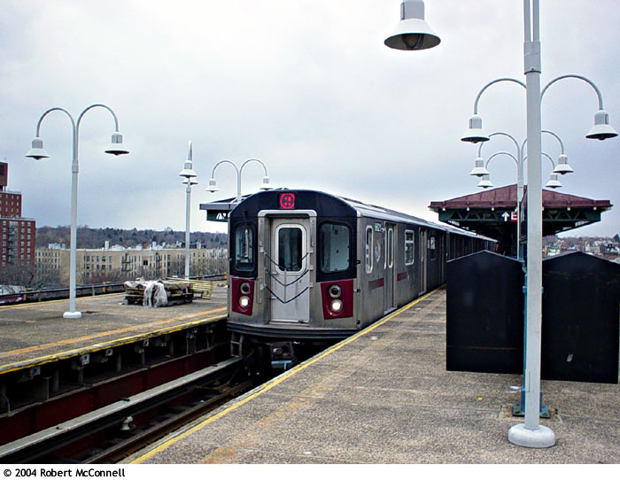 (89k, 700x542)<br><b>Country:</b> United States<br><b>City:</b> New York<br><b>System:</b> New York City Transit<br><b>Line:</b> IRT White Plains Road Line<br><b>Location:</b> Gun Hill Road <br><b>Route:</b> 2<br><b>Car:</b> R-142 or R-142A (Number Unknown)  <br><b>Photo by:</b> Robert McConnell<br><b>Date:</b> 4/4/2004<br><b>Viewed (this week/total):</b> 5 / 5211