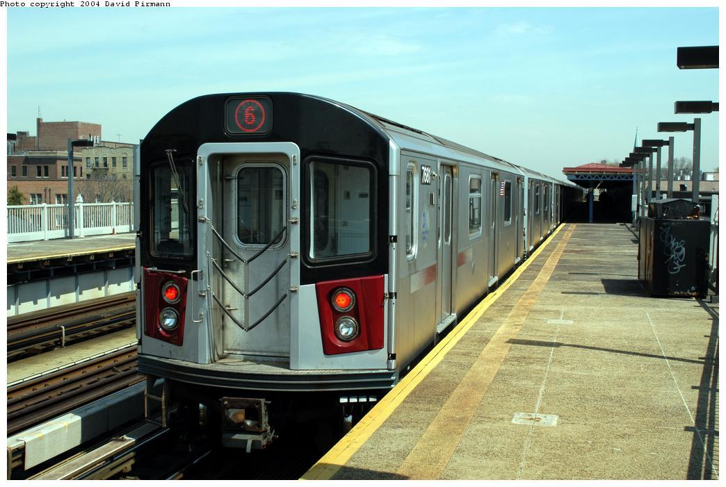 (162k, 1044x701)<br><b>Country:</b> United States<br><b>City:</b> New York<br><b>System:</b> New York City Transit<br><b>Line:</b> IRT Pelham Line<br><b>Location:</b> Zerega Avenue <br><b>Route:</b> 6<br><b>Car:</b> R-142A (Option Order, Kawasaki, 2002-2003)  7681 <br><b>Photo by:</b> David Pirmann<br><b>Date:</b> 4/17/2004<br><b>Viewed (this week/total):</b> 3 / 4060