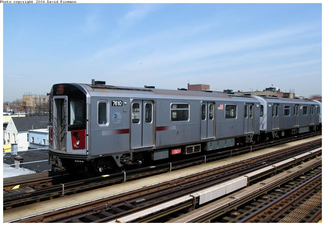 (155k, 1044x724)<br><b>Country:</b> United States<br><b>City:</b> New York<br><b>System:</b> New York City Transit<br><b>Line:</b> IRT Pelham Line<br><b>Location:</b> Zerega Avenue <br><b>Route:</b> 6<br><b>Car:</b> R-142A (Primary Order, Kawasaki, 1999-2002)  7610 <br><b>Photo by:</b> David Pirmann<br><b>Date:</b> 4/17/2004<br><b>Viewed (this week/total):</b> 1 / 4856