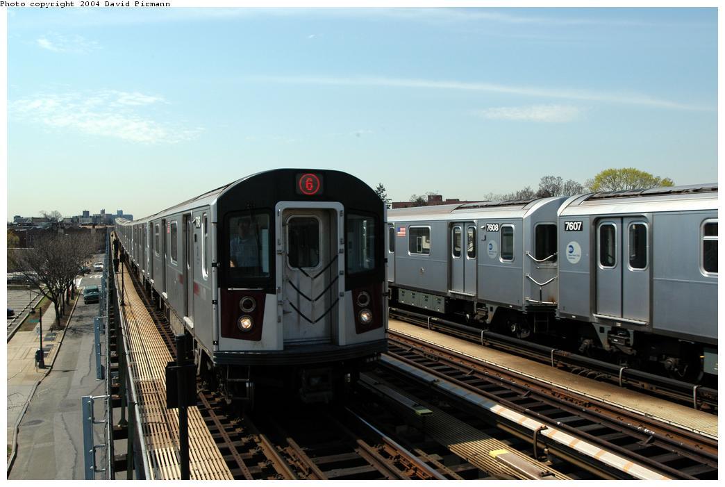 (149k, 1044x701)<br><b>Country:</b> United States<br><b>City:</b> New York<br><b>System:</b> New York City Transit<br><b>Line:</b> IRT Pelham Line<br><b>Location:</b> Zerega Avenue <br><b>Route:</b> 6<br><b>Car:</b> R-142A (Option Order, Kawasaki, 2002-2003)  7646 <br><b>Photo by:</b> David Pirmann<br><b>Date:</b> 4/17/2004<br><b>Viewed (this week/total):</b> 0 / 3538