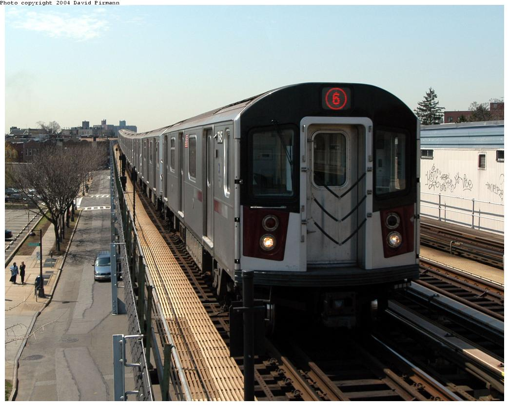 (168k, 1044x834)<br><b>Country:</b> United States<br><b>City:</b> New York<br><b>System:</b> New York City Transit<br><b>Line:</b> IRT Pelham Line<br><b>Location:</b> Zerega Avenue <br><b>Route:</b> 6<br><b>Car:</b> R-142A (Option Order, Kawasaki, 2002-2003)  7645 <br><b>Photo by:</b> David Pirmann<br><b>Date:</b> 4/17/2004<br><b>Viewed (this week/total):</b> 0 / 4328