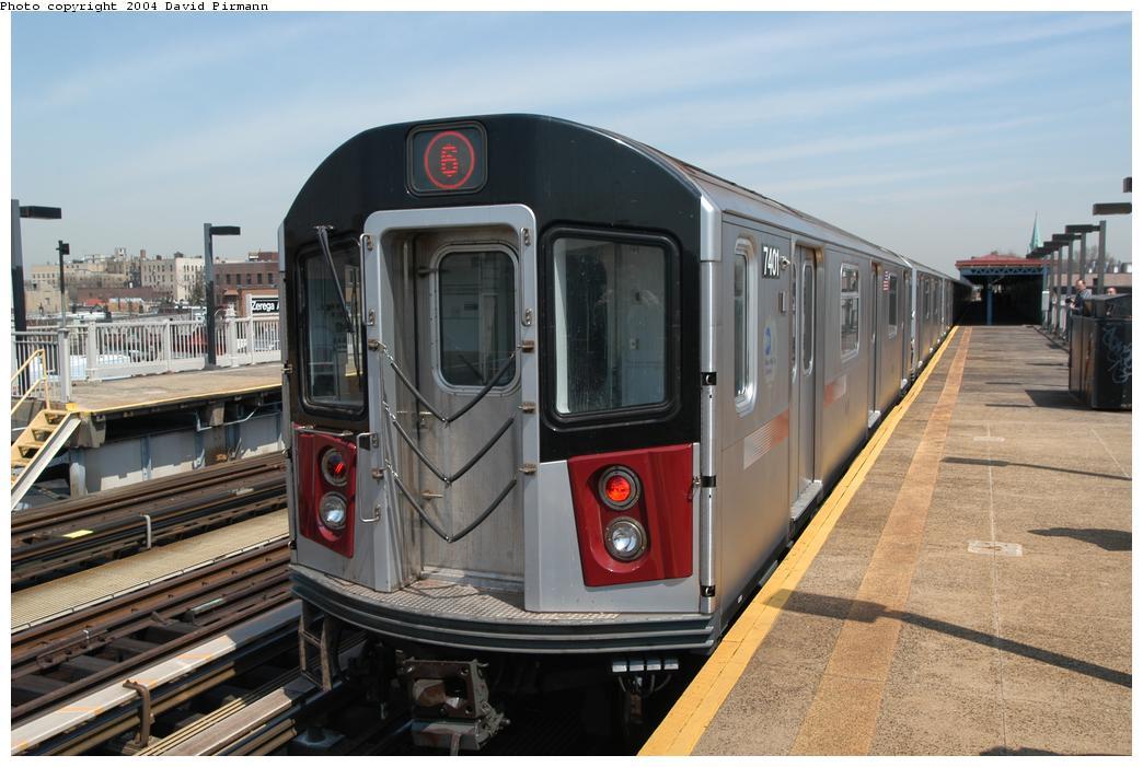 (152k, 1044x701)<br><b>Country:</b> United States<br><b>City:</b> New York<br><b>System:</b> New York City Transit<br><b>Line:</b> IRT Pelham Line<br><b>Location:</b> Zerega Avenue <br><b>Route:</b> 6<br><b>Car:</b> R-142A (Primary Order, Kawasaki, 1999-2002)  7401 <br><b>Photo by:</b> David Pirmann<br><b>Date:</b> 4/17/2004<br><b>Viewed (this week/total):</b> 4 / 3703