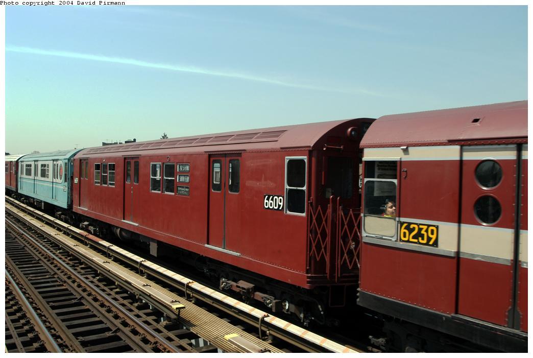 (142k, 1044x701)<br><b>Country:</b> United States<br><b>City:</b> New York<br><b>System:</b> New York City Transit<br><b>Line:</b> IRT Pelham Line<br><b>Location:</b> Zerega Avenue <br><b>Route:</b> Fan Trip<br><b>Car:</b> R-17 (St. Louis, 1955-56) 6609 <br><b>Photo by:</b> David Pirmann<br><b>Date:</b> 4/17/2004<br><b>Viewed (this week/total):</b> 0 / 2567