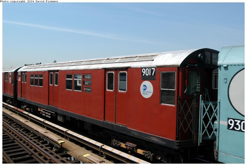 (135k, 1044x701)<br><b>Country:</b> United States<br><b>City:</b> New York<br><b>System:</b> New York City Transit<br><b>Line:</b> IRT Pelham Line<br><b>Location:</b> Zerega Avenue <br><b>Route:</b> Fan Trip<br><b>Car:</b> R-33 Main Line (St. Louis, 1962-63) 9017 <br><b>Photo by:</b> David Pirmann<br><b>Date:</b> 4/17/2004<br><b>Viewed (this week/total):</b> 0 / 3151