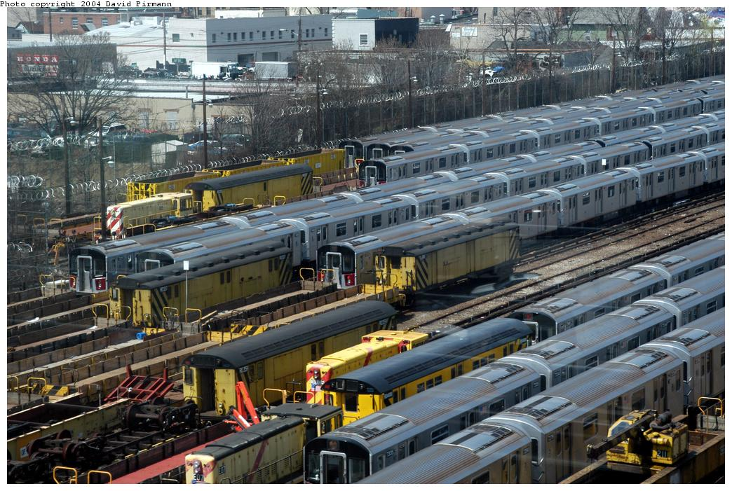 (206k, 1044x701)<br><b>Country:</b> United States<br><b>City:</b> New York<br><b>System:</b> New York City Transit<br><b>Location:</b> Westchester Yard<br><b>Photo by:</b> David Pirmann<br><b>Date:</b> 4/17/2004<br><b>Viewed (this week/total):</b> 0 / 3250