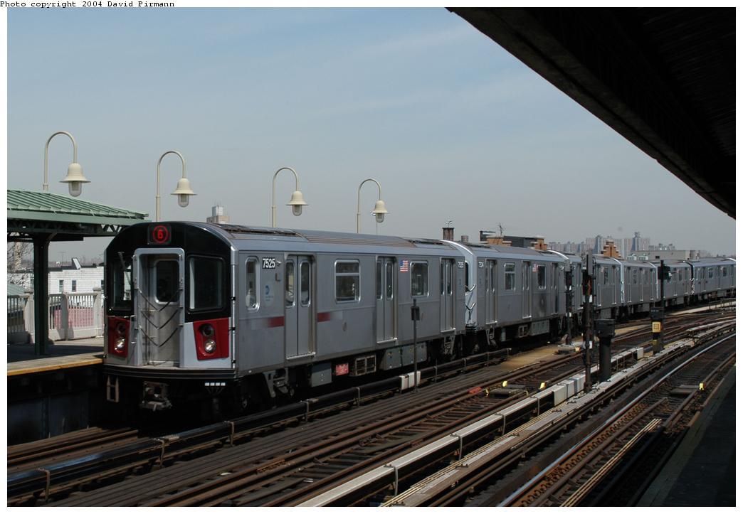 (144k, 1044x723)<br><b>Country:</b> United States<br><b>City:</b> New York<br><b>System:</b> New York City Transit<br><b>Line:</b> IRT Pelham Line<br><b>Location:</b> Westchester Square <br><b>Route:</b> 6<br><b>Car:</b> R-142A (Primary Order, Kawasaki, 1999-2002)  7525 <br><b>Photo by:</b> David Pirmann<br><b>Date:</b> 4/17/2004<br><b>Viewed (this week/total):</b> 2 / 4337