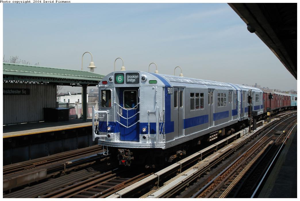(146k, 1044x701)<br><b>Country:</b> United States<br><b>City:</b> New York<br><b>System:</b> New York City Transit<br><b>Line:</b> IRT Pelham Line<br><b>Location:</b> Westchester Square <br><b>Route:</b> Fan Trip<br><b>Car:</b> R-33 Main Line (St. Louis, 1962-63) 9010 <br><b>Photo by:</b> David Pirmann<br><b>Date:</b> 4/17/2004<br><b>Viewed (this week/total):</b> 0 / 4576