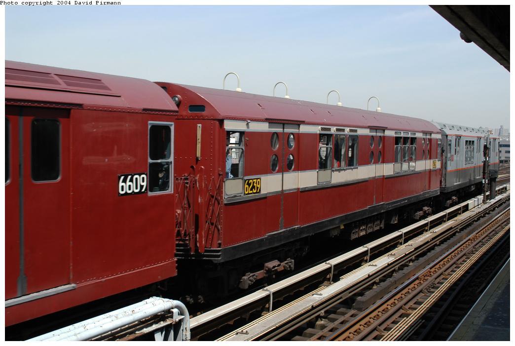(143k, 1044x701)<br><b>Country:</b> United States<br><b>City:</b> New York<br><b>System:</b> New York City Transit<br><b>Line:</b> IRT Pelham Line<br><b>Location:</b> Westchester Square <br><b>Route:</b> Fan Trip<br><b>Car:</b> R-15 (American Car & Foundry, 1950) 6239 <br><b>Photo by:</b> David Pirmann<br><b>Date:</b> 4/17/2004<br><b>Viewed (this week/total):</b> 1 / 2754