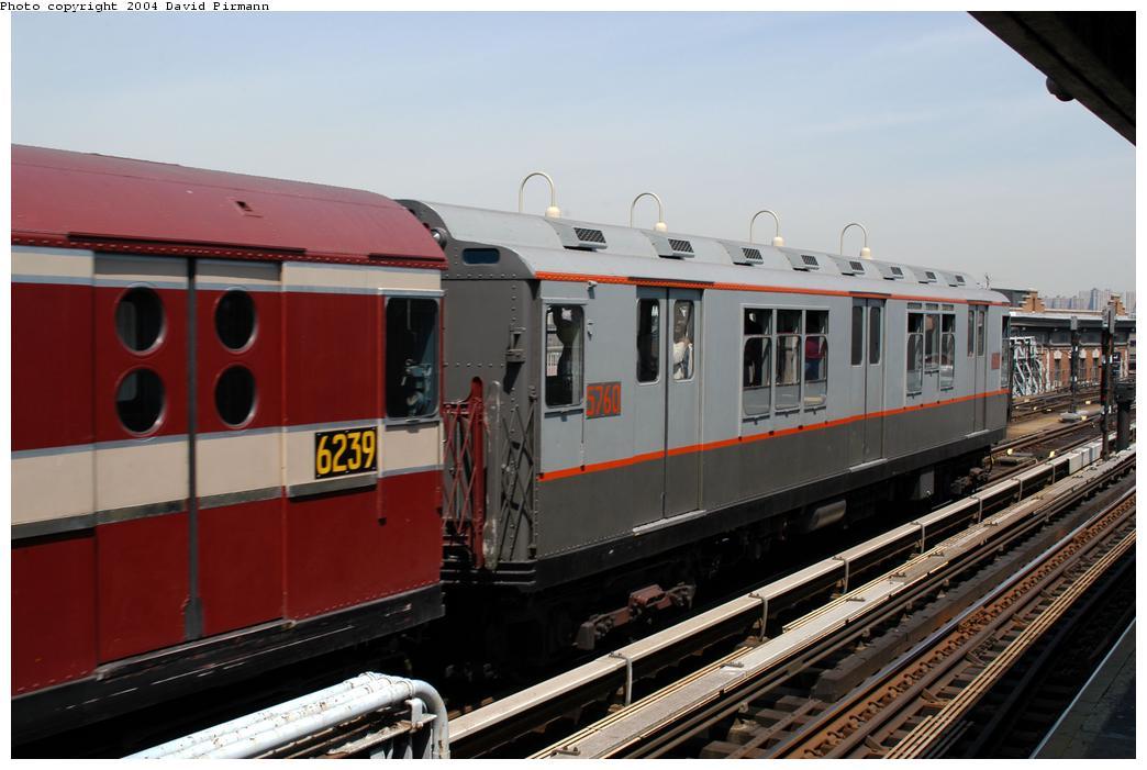 (150k, 1044x701)<br><b>Country:</b> United States<br><b>City:</b> New York<br><b>System:</b> New York City Transit<br><b>Line:</b> IRT Pelham Line<br><b>Location:</b> Westchester Square <br><b>Route:</b> Fan Trip<br><b>Car:</b> R-12 (American Car & Foundry, 1948) 5760 <br><b>Photo by:</b> David Pirmann<br><b>Date:</b> 4/17/2004<br><b>Viewed (this week/total):</b> 0 / 2769