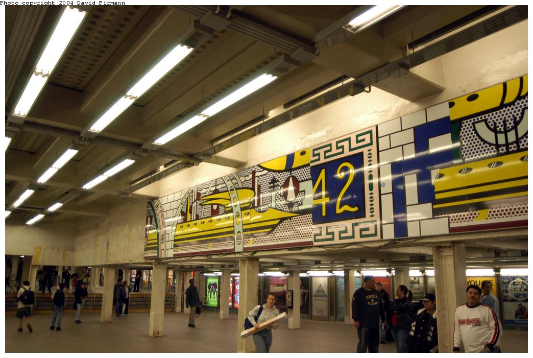 (159k, 1044x701)<br><b>Country:</b> United States<br><b>City:</b> New York<br><b>System:</b> New York City Transit<br><b>Line:</b> IRT Times Square-Grand Central Shuttle<br><b>Location:</b> Times Square <br><b>Photo by:</b> David Pirmann<br><b>Date:</b> 4/17/2004<br><b>Artwork:</b> <i>Times Square Mural</i>, Roy Lichtenstein (1994).<br><b>Viewed (this week/total):</b> 2 / 7233