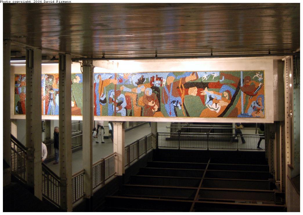 (162k, 1044x743)<br><b>Country:</b> United States<br><b>City:</b> New York<br><b>System:</b> New York City Transit<br><b>Line:</b> BMT Broadway Line<br><b>Location:</b> Times Square/42nd Street <br><b>Photo by:</b> David Pirmann<br><b>Date:</b> 4/17/2004<br><b>Artwork:</b> <i>New York in Transit</i>, Jacob Lawrence (2001).<br><b>Viewed (this week/total):</b> 3 / 6497