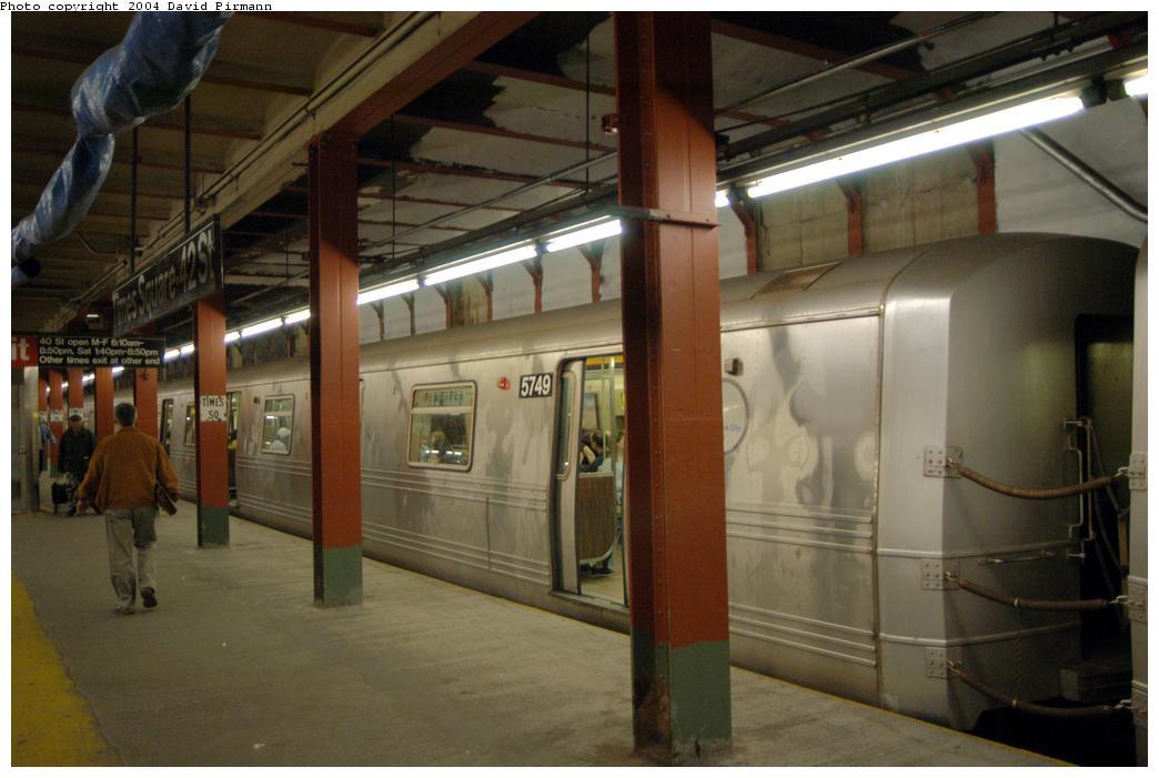 (134k, 1044x701)<br><b>Country:</b> United States<br><b>City:</b> New York<br><b>System:</b> New York City Transit<br><b>Line:</b> BMT Broadway Line<br><b>Location:</b> Times Square/42nd Street <br><b>Route:</b> R<br><b>Car:</b> R-46 (Pullman-Standard, 1974-75) 5749 <br><b>Photo by:</b> David Pirmann<br><b>Date:</b> 4/17/2004<br><b>Viewed (this week/total):</b> 7 / 6056