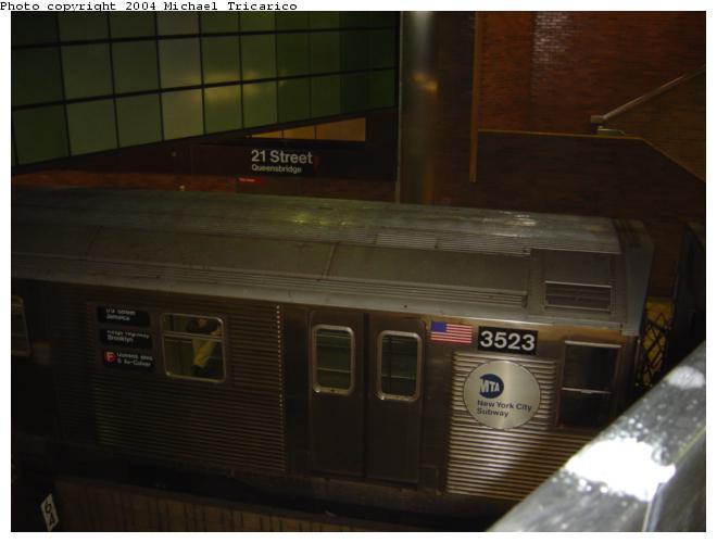 (37k, 660x500)<br><b>Country:</b> United States<br><b>City:</b> New York<br><b>System:</b> New York City Transit<br><b>Line:</b> IND 63rd Street<br><b>Location:</b> 21st Street/Queensbridge <br><b>Route:</b> F<br><b>Car:</b> R-32 (Budd, 1964)  3523 <br><b>Photo by:</b> Michael Tricarico<br><b>Date:</b> 4/7/2004<br><b>Viewed (this week/total):</b> 0 / 7379