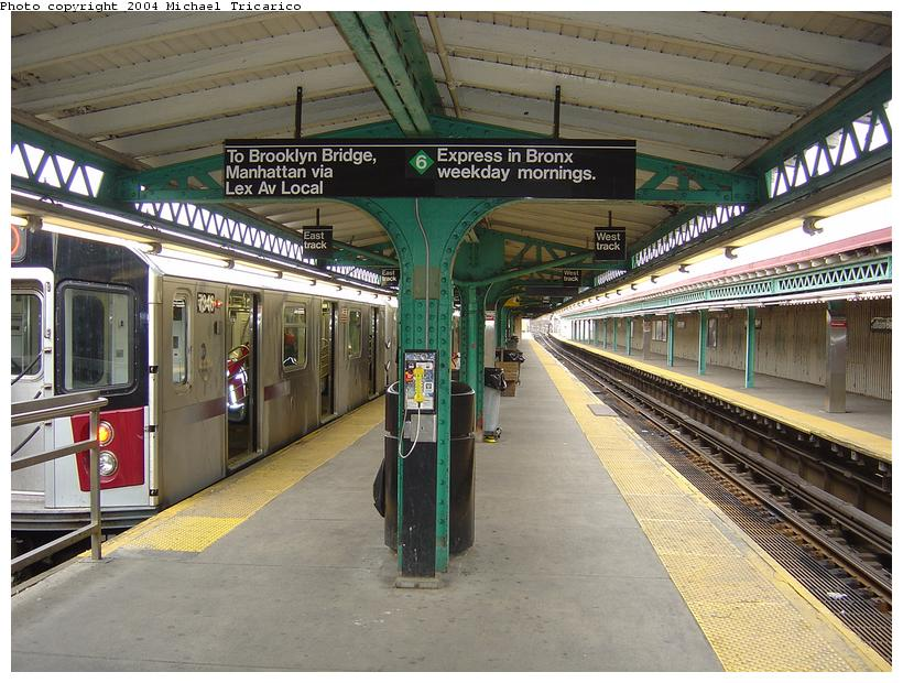 (110k, 820x620)<br><b>Country:</b> United States<br><b>City:</b> New York<br><b>System:</b> New York City Transit<br><b>Line:</b> IRT Pelham Line<br><b>Location:</b> Pelham Bay Park<br><b>Route:</b> 6<br><b>Car:</b> R-142A (Primary Order, Kawasaki, 1999-2002) 7346 <br><b>Photo by:</b> Michael Tricarico<br><b>Date:</b> 4/12/2004<br><b>Viewed (this week/total):</b> 0 / 9912
