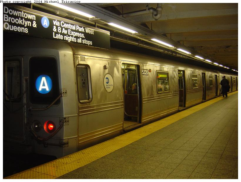 (83k, 820x620)<br><b>Country:</b> United States<br><b>City:</b> New York<br><b>System:</b> New York City Transit<br><b>Line:</b> IND 8th Avenue Line<br><b>Location:</b> 207th Street <br><b>Route:</b> A<br><b>Car:</b> R-44 (St. Louis, 1971-73) 5320 <br><b>Photo by:</b> Michael Tricarico<br><b>Date:</b> 4/13/2004<br><b>Viewed (this week/total):</b> 0 / 6486