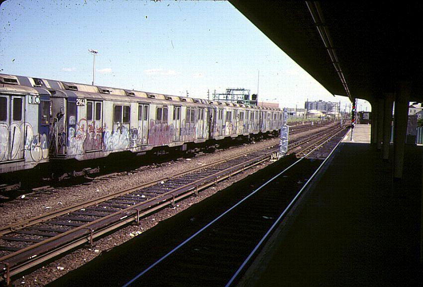 (98k, 850x577)<br><b>Country:</b> United States<br><b>City:</b> New York<br><b>System:</b> New York City Transit<br><b>Location:</b> Rockaway Park Yard<br><b>Car:</b> R-10 (American Car & Foundry, 1948) 2964 <br><b>Photo by:</b> Bernard Chatreau<br><b>Date:</b> 9/1978<br><b>Viewed (this week/total):</b> 1 / 4845