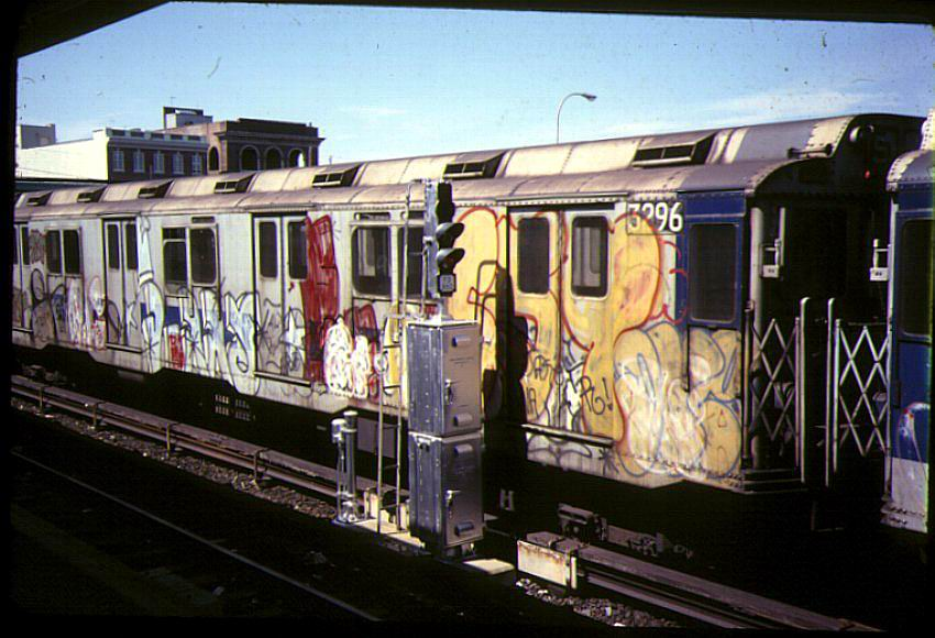 (90k, 850x580)<br><b>Country:</b> United States<br><b>City:</b> New York<br><b>System:</b> New York City Transit<br><b>Location:</b> Rockaway Park Yard<br><b>Car:</b> R-10 (American Car & Foundry, 1948) 3296 <br><b>Photo by:</b> Bernard Chatreau<br><b>Date:</b> 9/1978<br><b>Viewed (this week/total):</b> 2 / 9094